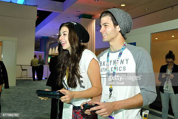 Kira Kosarin and Chase Austin attend the Nintendo hosts celebrities at 2015 E3 Gaming Convention at Los Angeles Convention Center on June 16 2015 in...