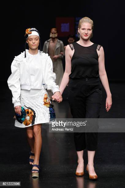 Kira Landwehr acknowledges the audience after her show 'Synthical' at the AMD Exit17_2 show during Platform Fashion July 2017 at Areal Boehler on...