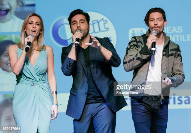 Kira Miro David Bustamante and Adrian Lastra attend the 'Proyecto Sonrisas' party at Principe Pio theatre on March 23 2017 in Madrid Spain