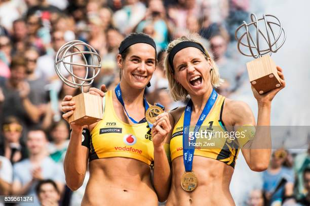 Kira Walkenhorst and Laura Ludwig of Germany celebrate after winning the gold medal match during Day 4 of the Swatch Beach Volleyball FIVB World Tour...