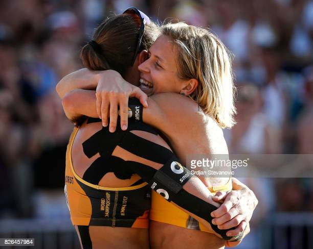 Kira Walkenhorst and Laura Ludwig of Germany celebrate during the Women's Semi Final match between Brazil and Germany on August 4 2017 in Vienna...