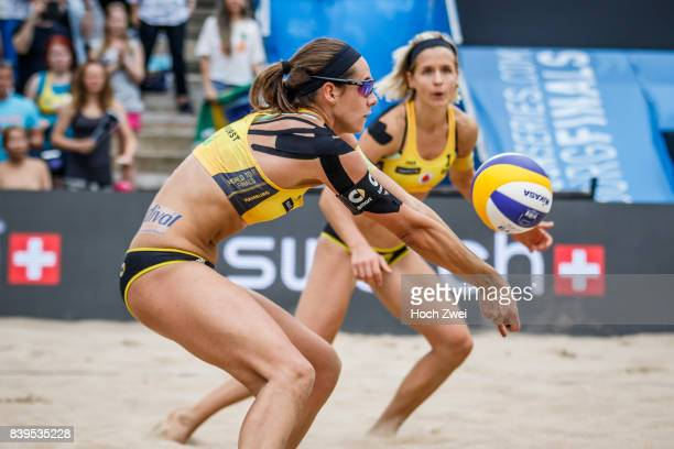 Kira Walkenhorst and Laura Ludwig of Germany in action during Day 4 of the Swatch Beach Volleyball FIVB World Tour Finals Hamburg 2017 on August 26...