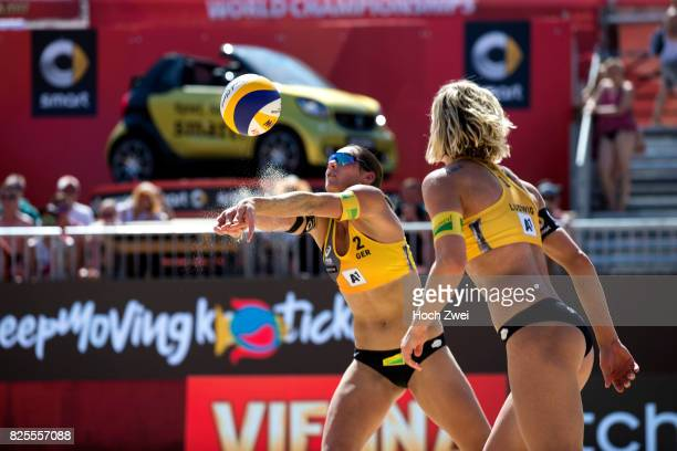 Kira Walkenhorst and Laura Ludwig of Germany in action during Day 6 of the FIVB Beach Volleyball World Championships 2017 on August 2 2017 in Vienna...