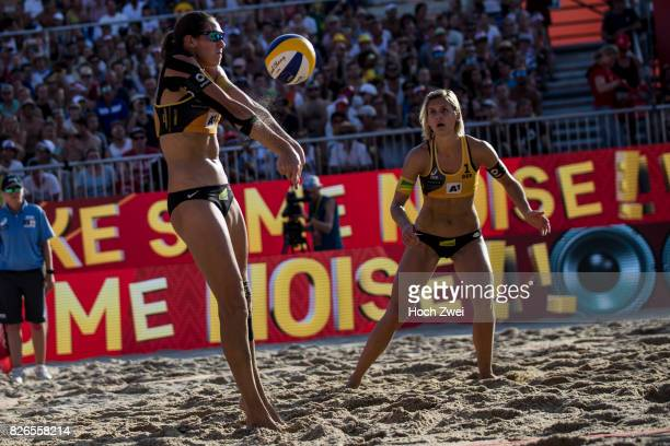 Kira Walkenhorst and Laura Ludwig of Germany in action during Day 8 of the FIVB Beach Volleyball World Championships 2017 on August 4 2017 in Vienna...