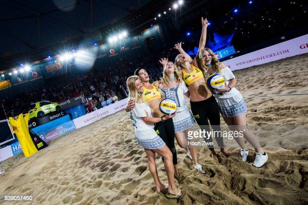 Kira Walkenhorst and Laura Ludwig of Germany seen during Day 3 of the Swatch Beach Volleyball FIVB World Tour Finals Hamburg 2017 on August 25 2017...