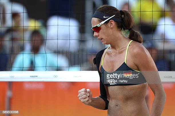 Kira Walkenhorst of Germany celebrates a point during a Women's Quarterfinal match between Canada and Germany on Day 9 of the Rio 2016 Olympic Games...