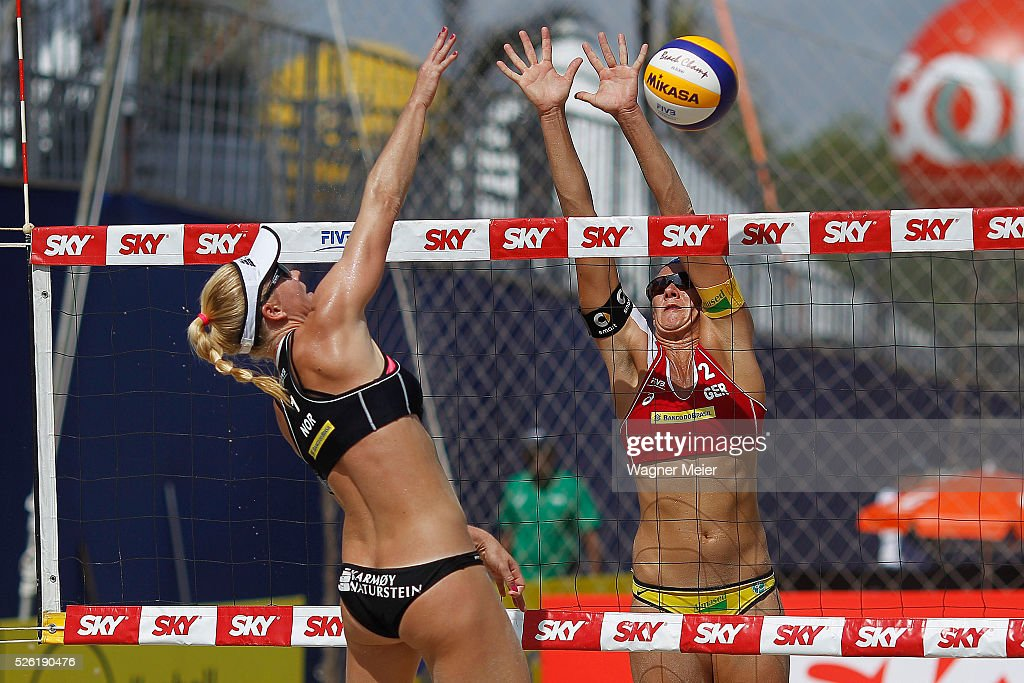 <a gi-track='captionPersonalityLinkClicked' href=/galleries/search?phrase=Kira+Walkenhorst&family=editorial&specificpeople=9457957 ng-click='$event.stopPropagation()'>Kira Walkenhorst</a> (R) of Germany in action during main draw match against Norway during the FIVB Fortaleza Open on Futuro Beach on April 29, 2016 in Fortaleza, Brazil.