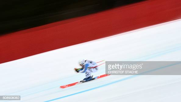 TOPSHOT Kira Weidle from Germany races down the hill during the Ladies Super G competition race at the FIS Alpine Skiing World Cup in...