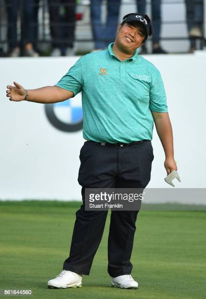 Kiradech Aphibarnrat of Malaysia reacts on the 18th hole during the final round of The Italian Open at Golf Club Milano Parco Reale di Monza on...