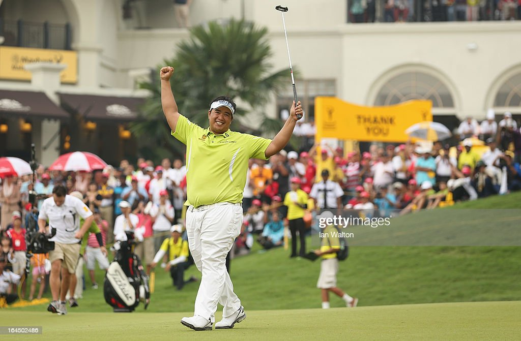 <a gi-track='captionPersonalityLinkClicked' href=/galleries/search?phrase=Kiradech+Aphibarnrat&family=editorial&specificpeople=6827713 ng-click='$event.stopPropagation()'>Kiradech Aphibarnrat</a> of Thailand celebrates after winning the 3rd and final round of the Maybank Malaysian Open at Kuala Lumpur Golf & Country Club on March 24, 2013 in Kuala Lumpur, Malaysia.