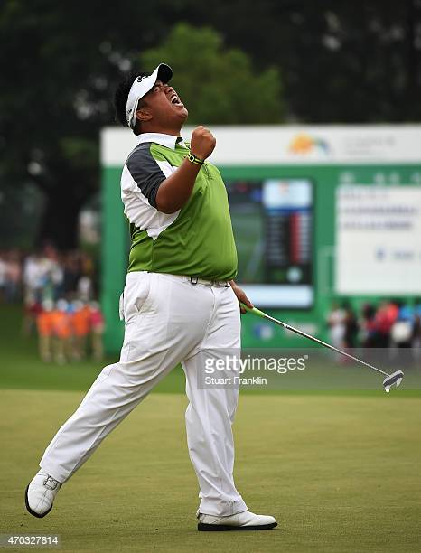 Kiradech Aphibarnrat of Thailand celebrates his winning putt during the play off against Li Hao Tong of China afterthe final round of the Shenzhen...