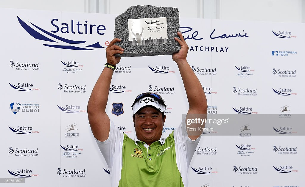 <a gi-track='captionPersonalityLinkClicked' href=/galleries/search?phrase=Kiradech+Aphibarnrat&family=editorial&specificpeople=6827713 ng-click='$event.stopPropagation()'>Kiradech Aphibarnrat</a> of Thailand celebrates winning his match against Robert Karlsson of Sweden in the final of the Saltire Energy Paul Lawrie Matchplay at Murcar Links Golf Course on August 2, 2015 in Aberdeen, Scotland.