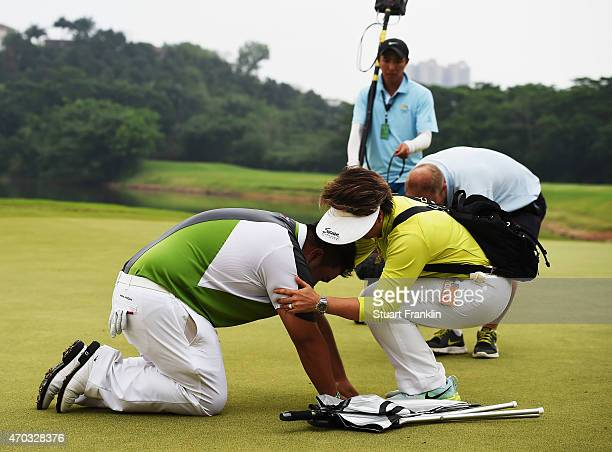 Kiradech Aphibarnrat of Thailand celebrates winning with his mother after the play off against Li Hao Tong of China afterthe final round of the...