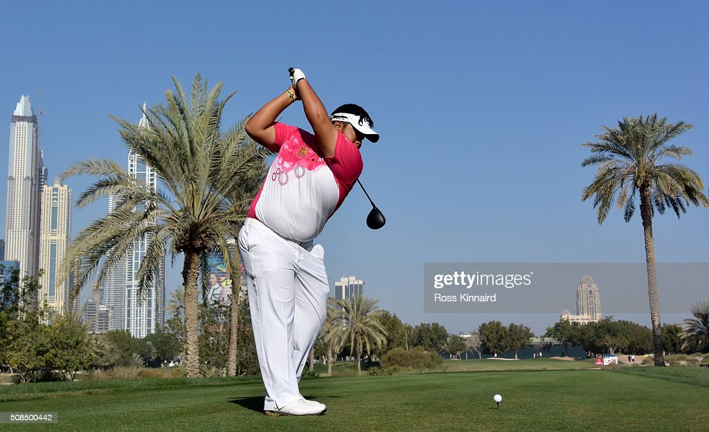 <a gi-track='captionPersonalityLinkClicked' href=/galleries/search?phrase=Kiradech+Aphibarnrat&family=editorial&specificpeople=6827713 ng-click='$event.stopPropagation()'>Kiradech Aphibarnrat</a> of Thailand hits his tee shot on the par four 16th hole during the second round of the Omega Dubai Desert Classic on the Majlis course at the Emirates Golf Club on February 5, 2016 in Dubai, United Arab Emirates.