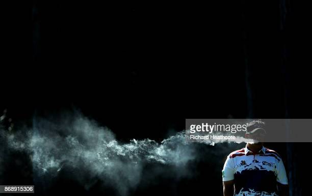 Kiradech Aphibarnrat of Thailand in action during a practise round ahead of the Turkish Airlines Open at the Regnum Carya Resort on October 31 2017...