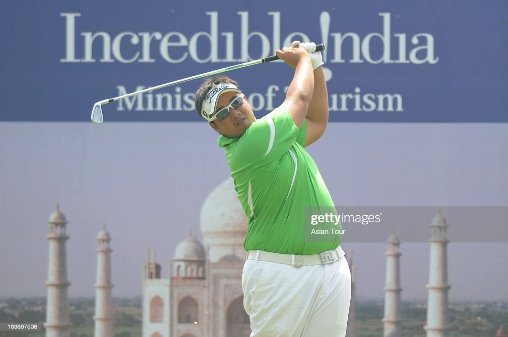 Kiradech Aphibarnrat of Thailand in action during day 4 of the Avantha Masters at Jaypee Greens Golf Course on March 17, 2013 in Noida, India.