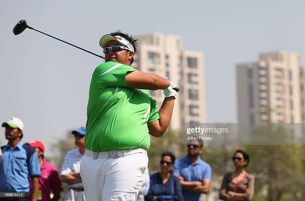 Kiradech Aphibarnrat of Thailand in action during day four of the Avantha Masters at Jaypee Greens Golf Club on March 17, 2013 in Delhi, India.