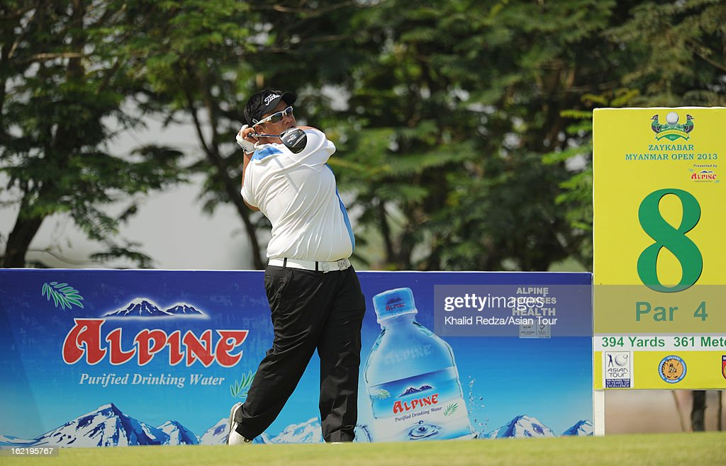 Kiradech Aphibarnrat of Thailand in action during previews ahead of the Zaykabar Myanmar Open at the Royal Mingalardon Golf and Country Club on February 20, 2013 in Yangon, Burma.