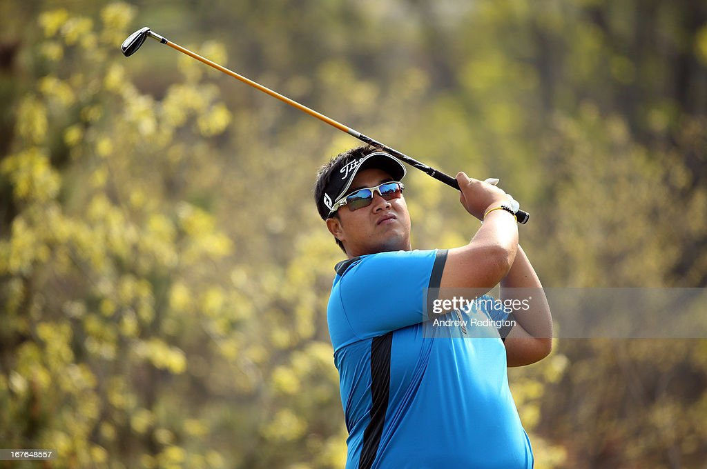 Kiradech Aphibarnrat of Thailand in action during the third round of the Ballantine's Championship at Blackstone Golf Club on April 27, 2013 in Icheon, South Korea.