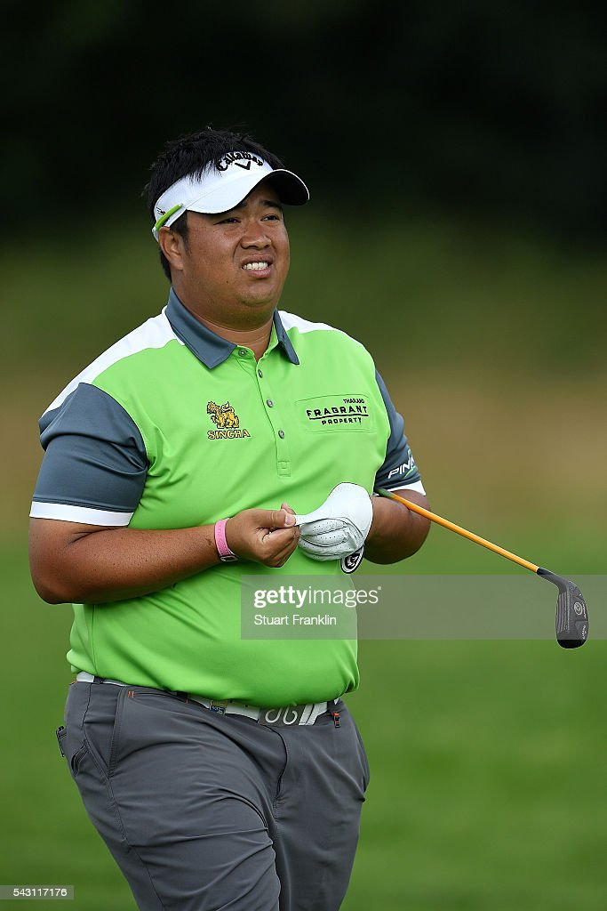 Kiradech Aphibarnrat of Thailand looks on during the rain delayed third round of the BMW International Open at Gut Larchenhof on June 26, 2016 in Cologne, Germany.