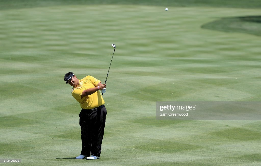 Kiradech Aphibarnrat of Thailand plays a shot during a practice round prior to the World Golf Championships-Bridgestone Invitational at Firestone Country Club South Course on June 28, 2016 in Akron, Ohio.
