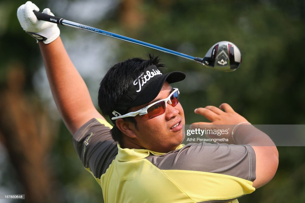 Kiradech Aphibarnrat of Thailand plays a shot during round two of the Thailand Golf Championship at Amata Spring Country Club on December 7, 2012 in Bangkok, Thailand.