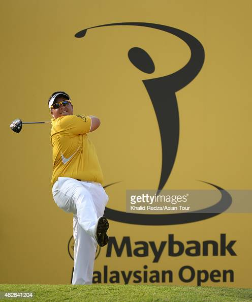 Kiradech Aphibarnrat of Thailand plays a shot during round two of the Maybank Malaysian Open at Kuala Lumpur Golf Country Club on February 6 2015 in...