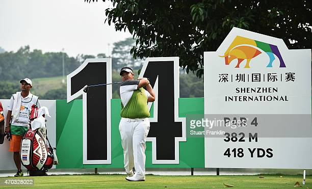 Kiradech Aphibarnrat of Thailand plays a shot during the final round of the Shenzhen International at Genzon Golf Club on April 19 2015 in Shenzhen...
