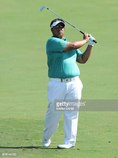 Kiradech Aphibarnrat of Thailand plays a shot during the final round of the DP World Tour Golf Championship at Jumeirah Golf Estates on November 19...