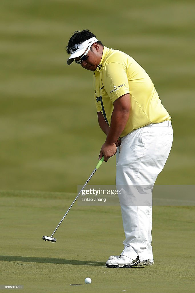 Kiradech Aphibarnrat of Thailand plays a shot during the second round of the WGC - HSBC Champions at Sheshan International Golf Club on November 1, 2013 in Shanghai, China.