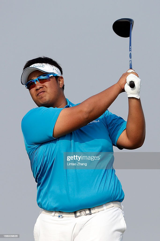Kiradech Aphibarnrat of Thailand plays a shot during the third day of the Volvo China Open at Binhai Lake Golf Course on May 4, 2013 in Tianjin, China.