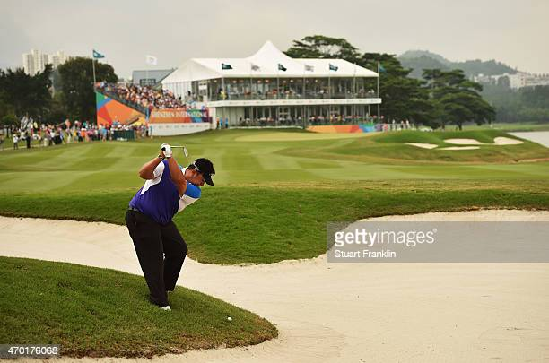 Kiradech Aphibarnrat of Thailand plays a shot during the third round of the Shenzhen International at Genzon Golf Club on April 18 2015 in Shenzhen...