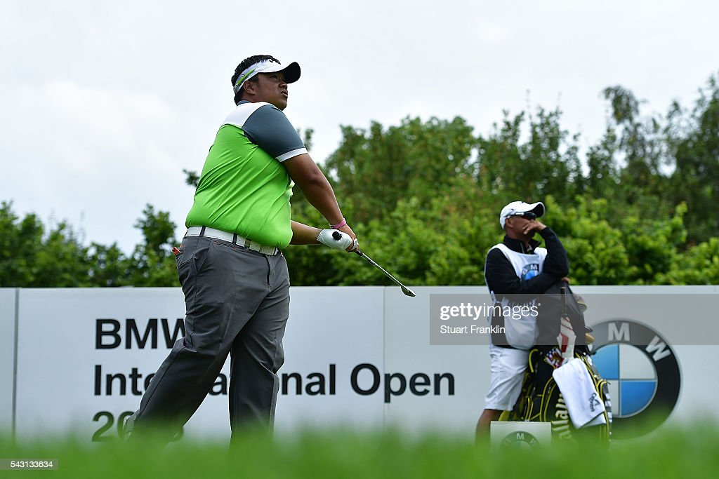 Kiradech Aphibarnrat of Thailand tees off during the final round of the BMW International Open at Gut Larchenhof on June 26, 2016 in Cologne, Germany.