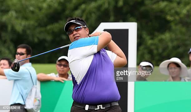 Kiradech Aphibarnrat of Thailand tees off during the third round of the European Tour's Shenzhen International at Genzon Golf Club in Shenzhen...