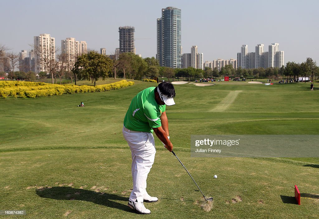 Kiradech Aphibarnrat of Thailand tees off from the 17th during day four of the Avantha Masters at Jaypee Greens Golf Club on March 17, 2013 in Delhi, India.