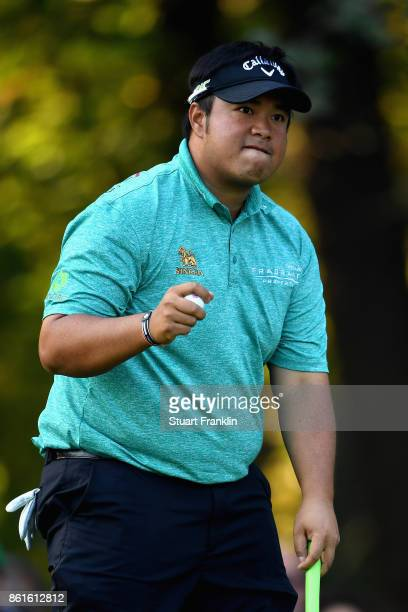 Kiradech Aphinbarnrat of Thailand reacts on the 17th green during the final round of the 2017 Italian Open at Golf Club Milano Parco Reale di Monza...