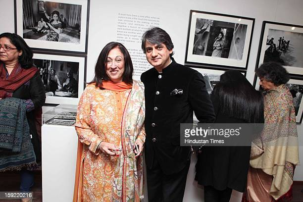 Kiran Nadar and owner of DAG Ashish Anand during the Photo exhibition titled Nemai Ghosh Satyajit Ray and Beyond at Delhi Art Gallery Hauz Khas...