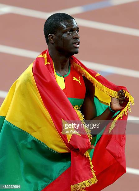 Kirani James of Grenada celebrates after winning bronze in the Men's 400 metres final during day five of the 15th IAAF World Athletics Championships...