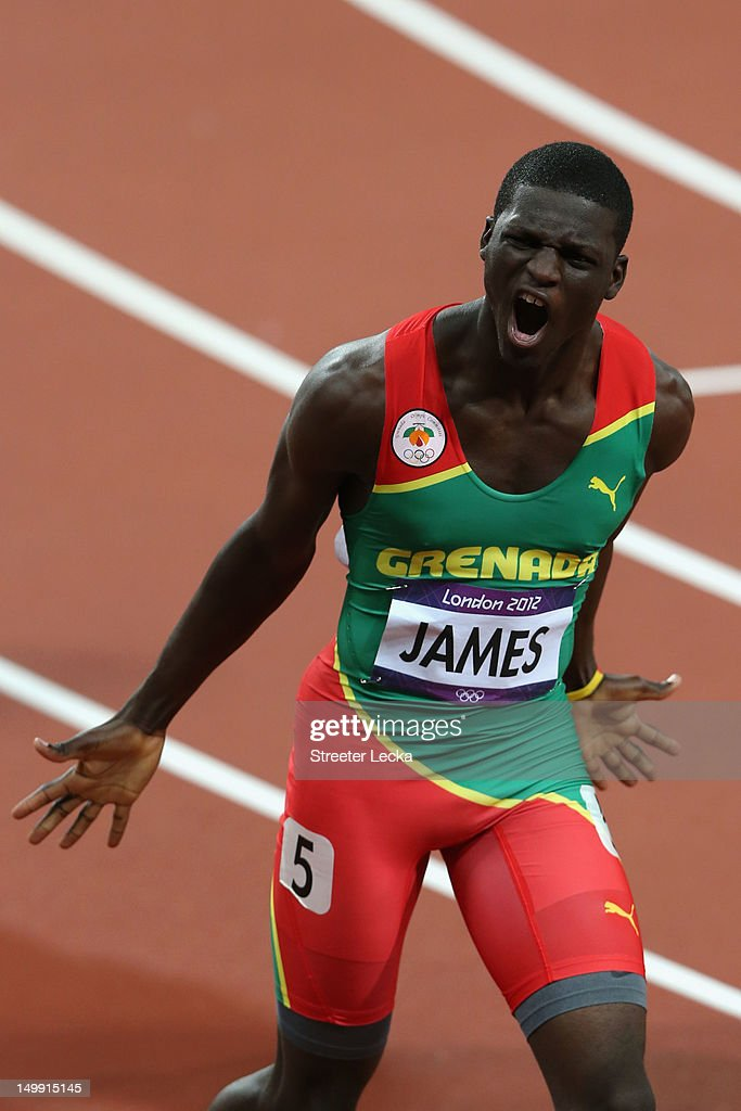 <a gi-track='captionPersonalityLinkClicked' href=/galleries/search?phrase=Kirani+James&family=editorial&specificpeople=5432961 ng-click='$event.stopPropagation()'>Kirani James</a> of Grenada celebrates after winning the gold medal in the Men's 400m final on Day 10 of the London 2012 Olympic Games at the Olympic Stadium on August 6, 2012 in London, England.