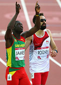Kirani James of Grenada celebrates winning gold in the Men's 400 metres Final at Hampden Park during day seven of the Glasgow 2014 Commonwealth Games...
