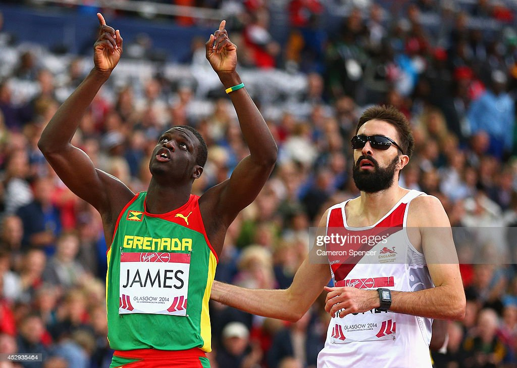 <a gi-track='captionPersonalityLinkClicked' href=/galleries/search?phrase=Kirani+James&family=editorial&specificpeople=5432961 ng-click='$event.stopPropagation()'>Kirani James</a> of Grenada celebrates winning gold in the Men's 400 metres Final at Hampden Park during day seven of the Glasgow 2014 Commonwealth Games on July 30, 2014 in Glasgow, United Kingdom.
