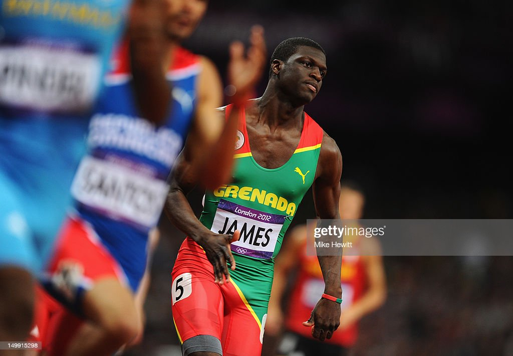 <a gi-track='captionPersonalityLinkClicked' href=/galleries/search?phrase=Kirani+James&family=editorial&specificpeople=5432961 ng-click='$event.stopPropagation()'>Kirani James</a> of Grenada competes in the Men's 400m final on Day 10 of the London 2012 Olympic Games at the Olympic Stadium on August 6, 2012 in London, England.