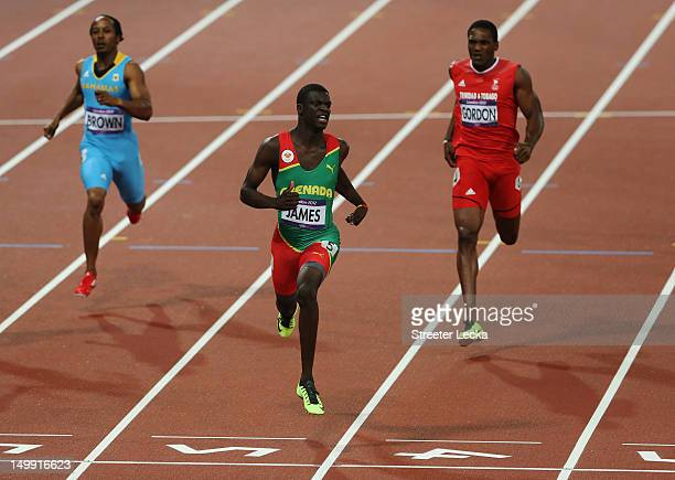 Kirani James of Grenada crosses the finish line to win the gold medal in the Men's 400m final on Day 10 of the London 2012 Olympic Games at the...