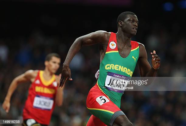 Kirani James of Grenada leads the field in the Men's 400m final on Day 10 of the London 2012 Olympic Games at the Olympic Stadium on August 6 2012 in...