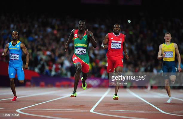 Kirani James of Grenada leads the field to win the Men's 400m final on Day 10 of the London 2012 Olympic Games at the Olympic Stadium on August 6...