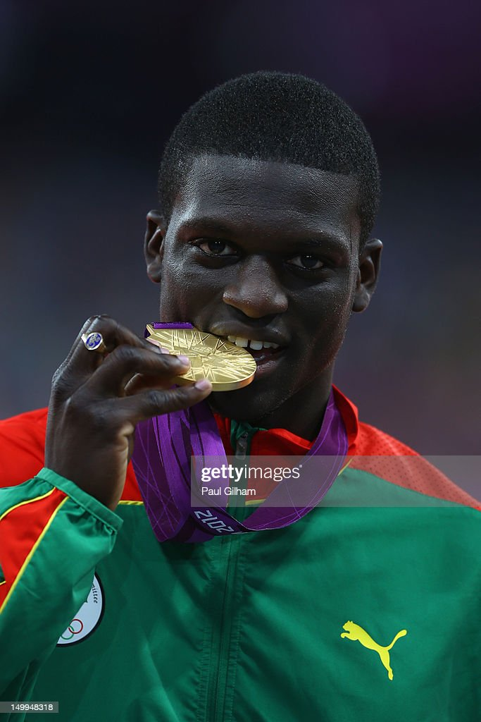 <a gi-track='captionPersonalityLinkClicked' href=/galleries/search?phrase=Kirani+James&family=editorial&specificpeople=5432961 ng-click='$event.stopPropagation()'>Kirani James</a> of Grenada poses on the podium during the medal ceremony for the Men's 400m on Day 11 of the London 2012 Olympic Games at Olympic Stadium on August 7, 2012 in London, England.