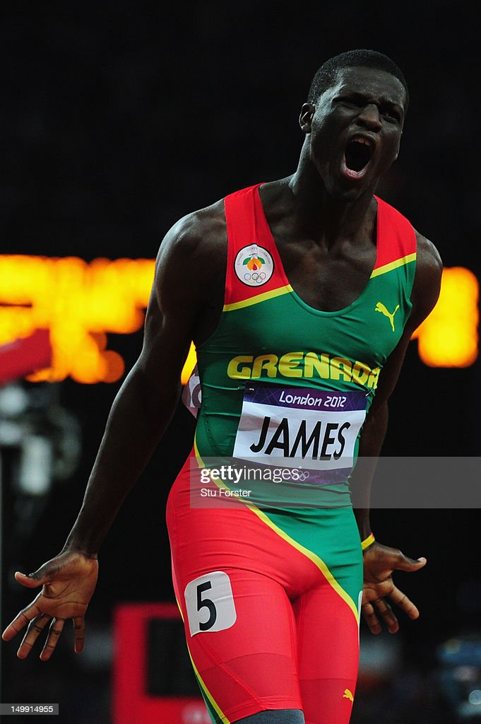 <a gi-track='captionPersonalityLinkClicked' href=/galleries/search?phrase=Kirani+James&family=editorial&specificpeople=5432961 ng-click='$event.stopPropagation()'>Kirani James</a> of Grenada reacts after he crosses the finish line to win the gold medal in the Men's 400m final on Day 10 of the London 2012 Olympic Games at the Olympic Stadium on August 6, 2012 in London, England.