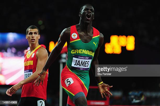Kirani James of Grenada reacts after winning the gold medal in the Men's 400m final on Day 10 of the London 2012 Olympic Games at the Olympic Stadium...