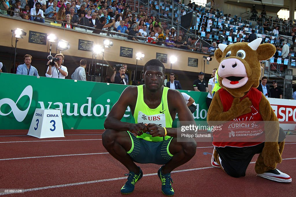 <a gi-track='captionPersonalityLinkClicked' href=/galleries/search?phrase=Kirani+James&family=editorial&specificpeople=5432961 ng-click='$event.stopPropagation()'>Kirani James</a> of Grenada reacts after winning the Men's 400m race at the IAAF Diamond League Athletics meeting 'Athletissima' on July 3, 2014 in Lausanne, Switzerland.