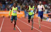 Kirani James of Grenada wins ahead of Isaac Makwala of Botswana and Martyn Rooney of Great Britain in the Men's 400m event during the Sainsbury's...
